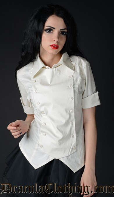 Ivory Cotton Panel Cravat Blouse