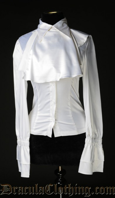 White Satin Elegant Cravat Blouse