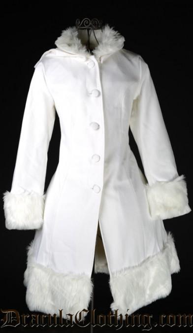Thick White Winter Wool Coat