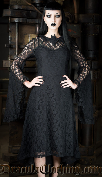 Bat Trumpet Sleeve Dress