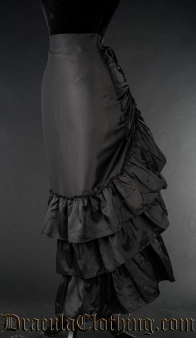 Black Satin Two Layer Bustle Skirt