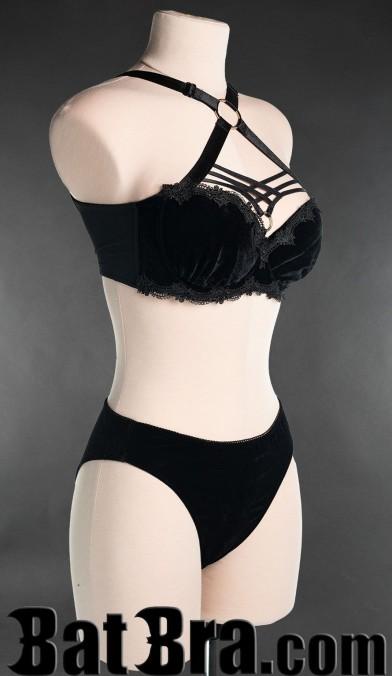 Black Velvet Harness Bra