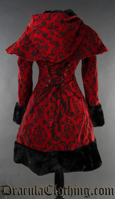 Crimson Brocade Thick Winter Coat