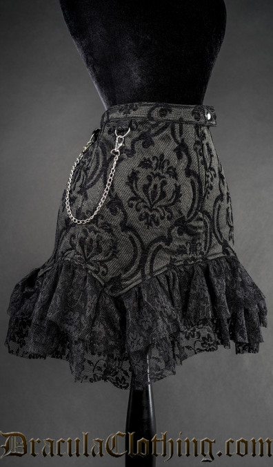 Black Brocade Empusa Skirt