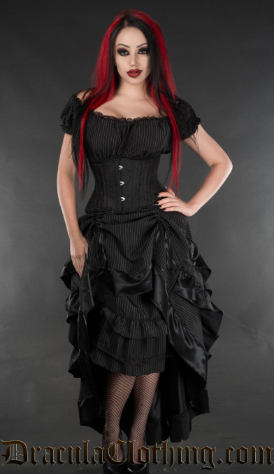 Pinstripe Layer Bustle Skirt