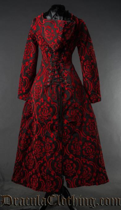 Red Brocade Hooded Coat
