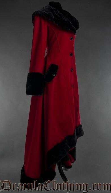 Red Wool Pocket Winter Coat