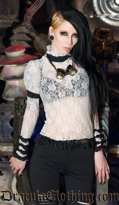 Black Steampunk Lace Top