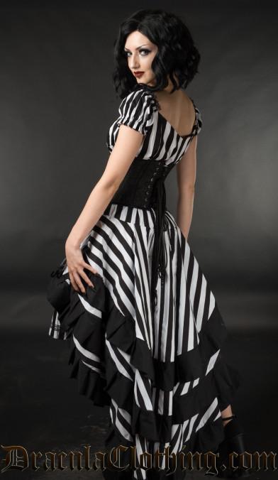 Striped Bustle Layer Skirt