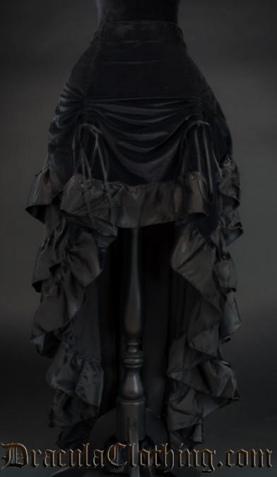 Black Velvet Layer Bustle Skirt