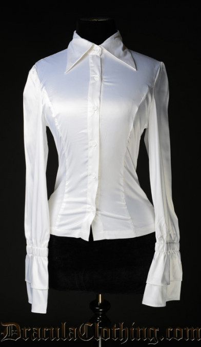 White Satin Elegant Cravat Blouse