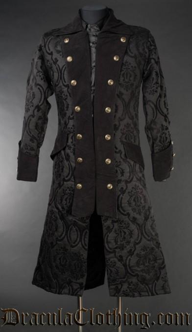 Black Brocade Long Pirate Coat