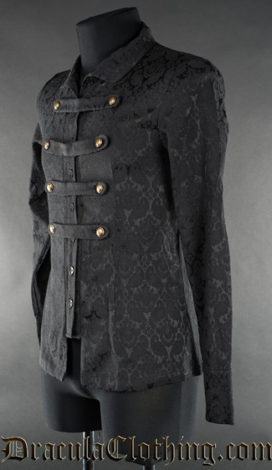 Black Brocade Naval Shirt