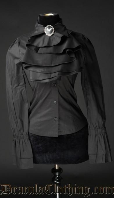 Black Cotton Elegant Cravat Blouse
