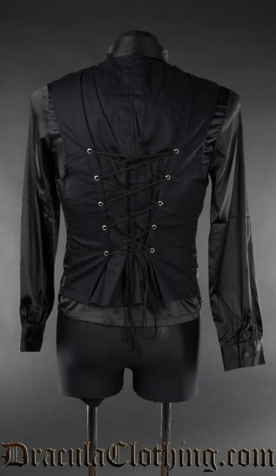 Black Brocade Long Vest
