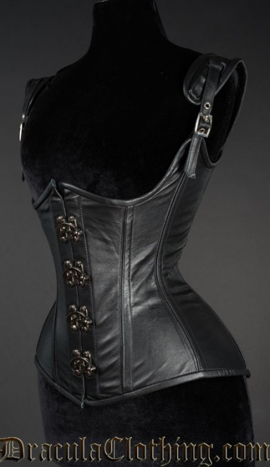 Black Leather Princess Clasp Corset