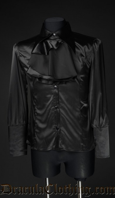 Black Satin Cravat Shirt