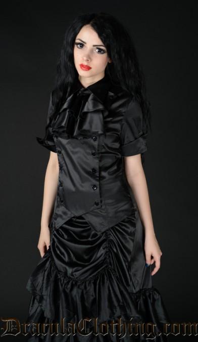 Black Satin Panel Cravat Blouse