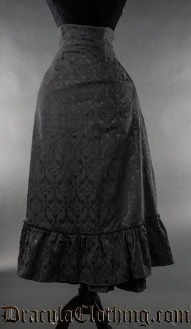 Black Brocade Two Layer Bustle Skirt