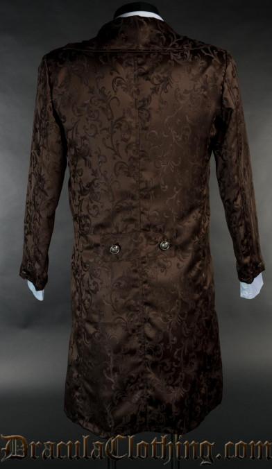 Brown Brocade Elegant Tailcoat