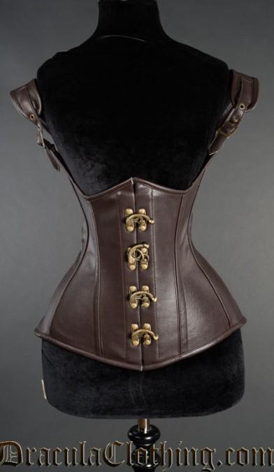 Brown Faux Leather Princess Corset
