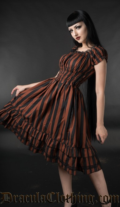 Brown Striped Gothabilly Dress
