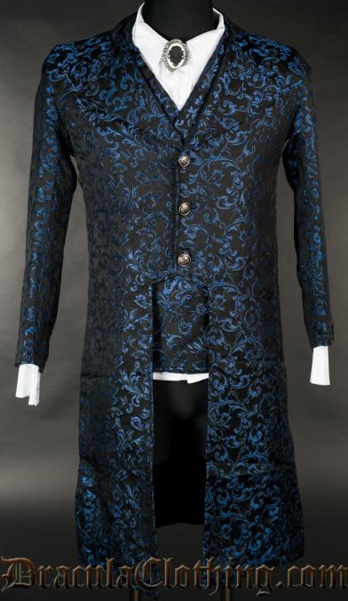 Blue Brocade Elegant Tailcoat