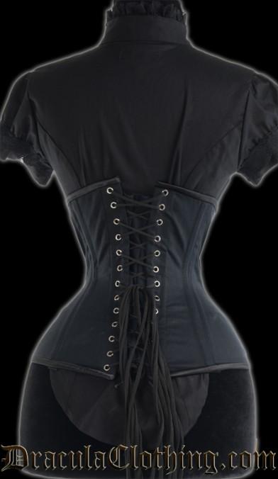 Black Cotton Extreme Waist Clasp Corset