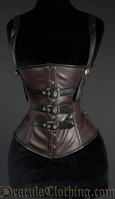 Heavy Faux Leather Buckle Corset