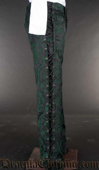 Green Brocade Laced Pants