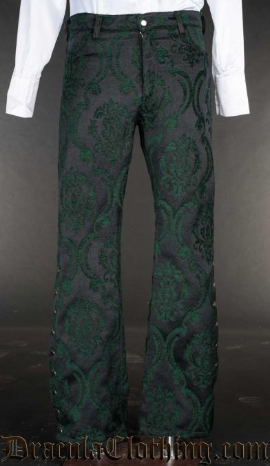 Green Brocade Pirate Officer Pants