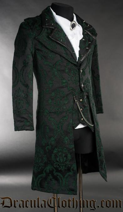 Green Brocade Elegant Tailcoat