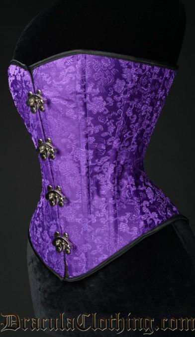 Purple Brocade Clasp Overbust Corset