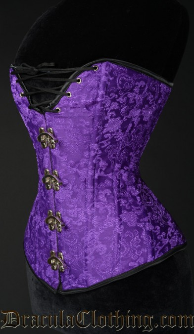 Purple Brocade Cleavage Clasp Corset