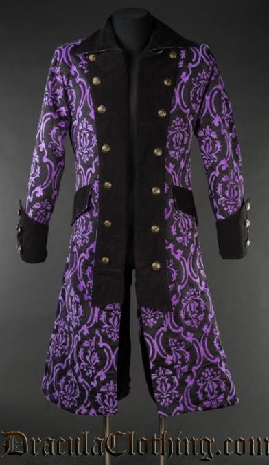 Purple Brocade Long Pirate Coat