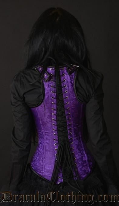 Purple Brocade Shoulder Clasp Corset