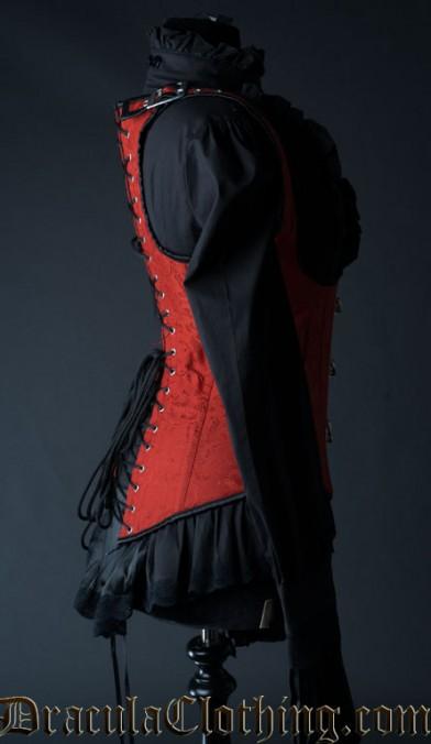 Red Brocade Shoulder Clasp Corset