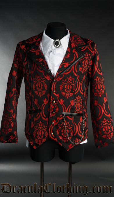 Red Brocade Tesla Jacket