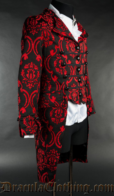 Red Brocade Triple Buttoned Tailcoat