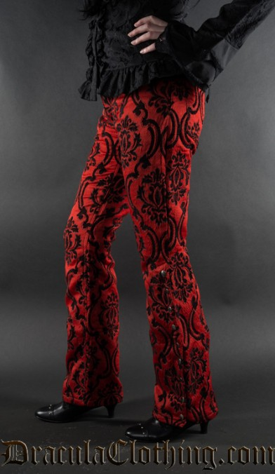 Red Jacquard Female Pirate Officer Pants