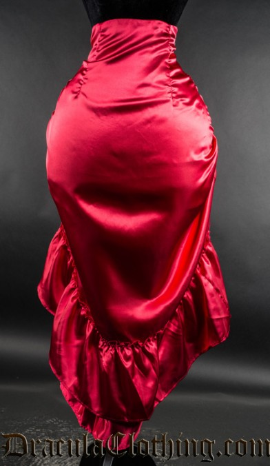 Red Satin Two Layer Bustle Skirt