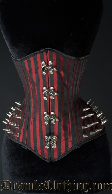 Red Stripes Extreme Waist Clasp Spike Corset