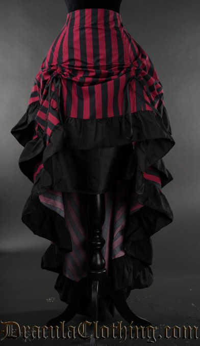 Red Striped Layer Bustle Skirt