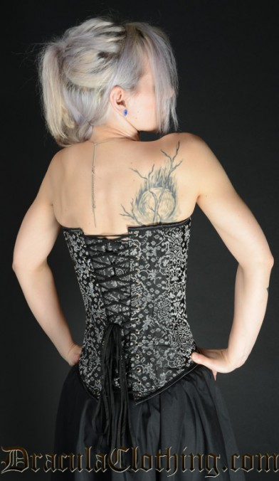 Silver Jacquard Clasp Overbust