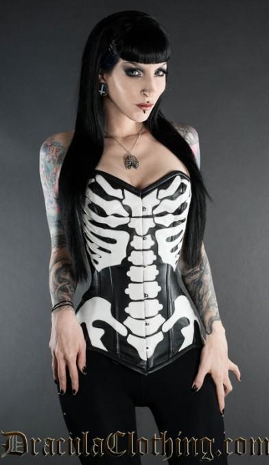 Faux Leather Skeleton Corset