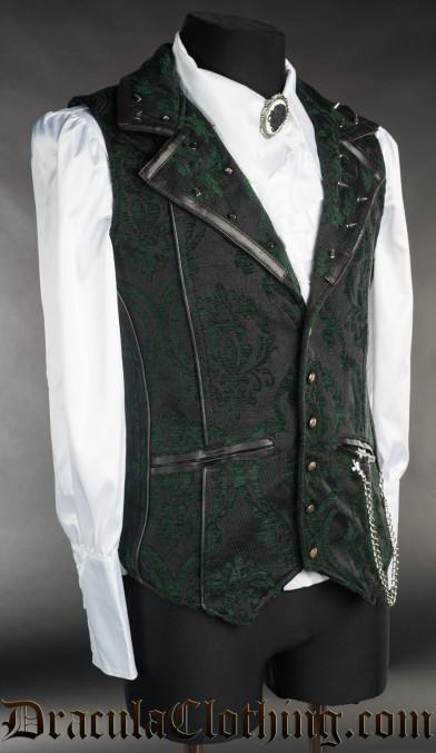 Spiked Green Brocade Vest