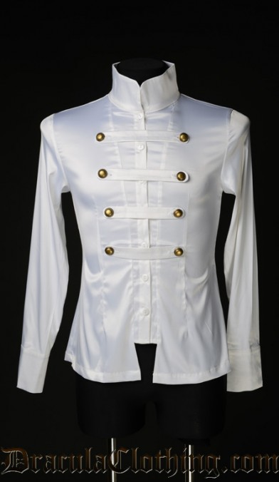 White Satin Naval Shirt