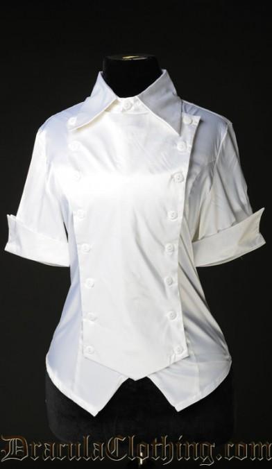 White Satin Panel Cravat Blouse