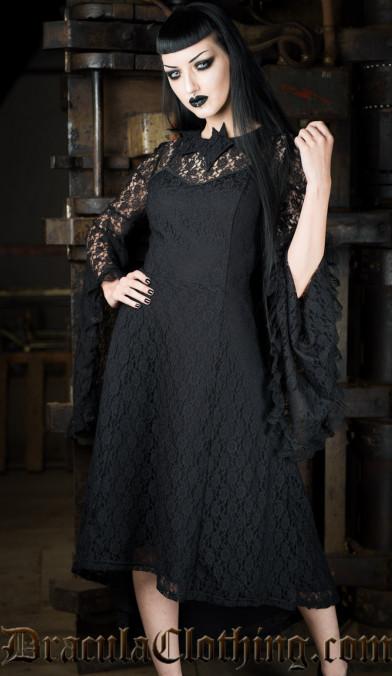 Bat Trumpet Sleeve Dress