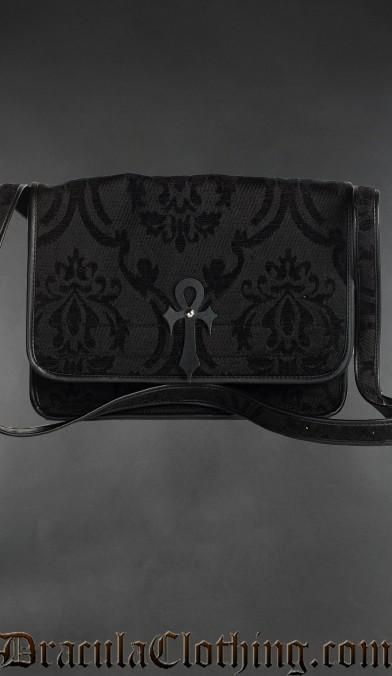 Black Brocade Ankh Shoulder Bag